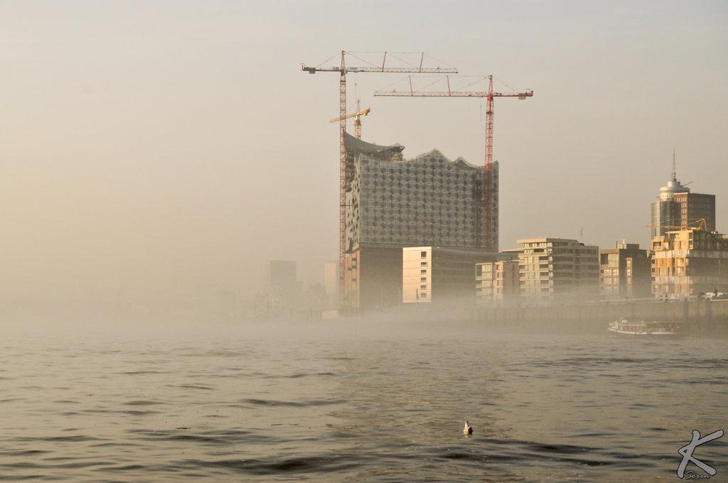 Die Elbphilharmonie im Nebel