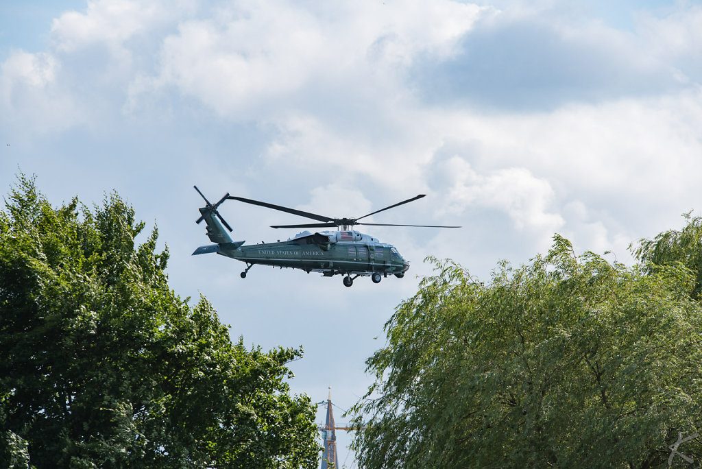 Marine One helicopter with Donald Trump