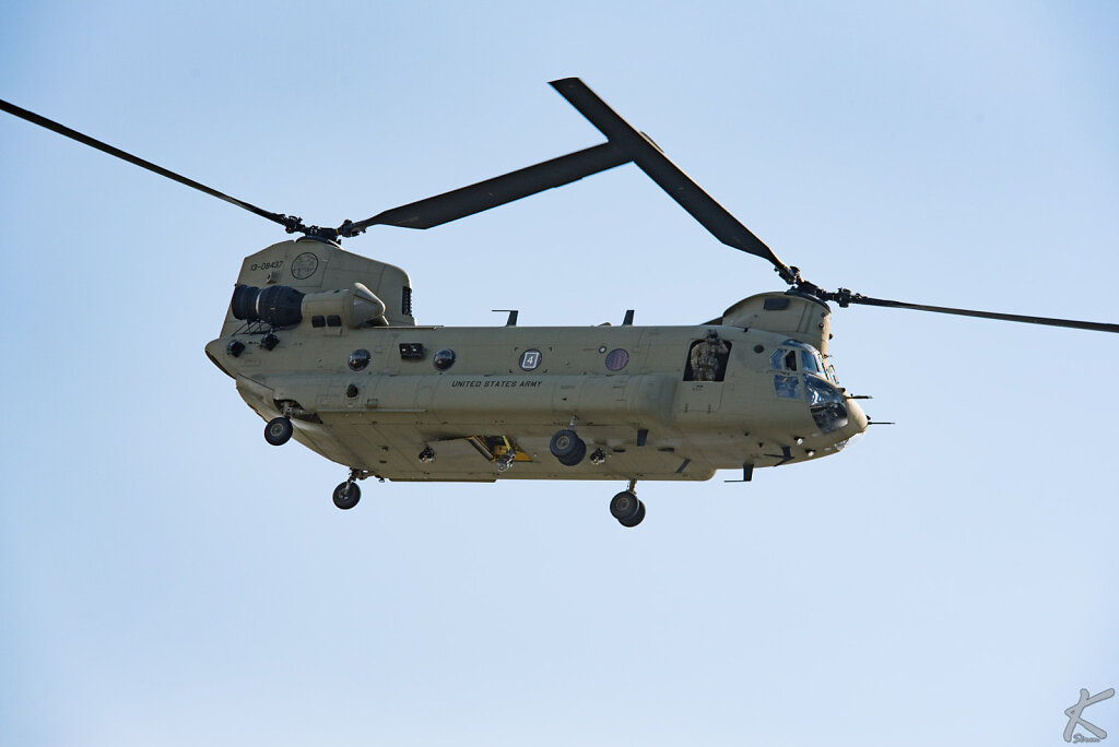 Chinook helicopter from escort of US president Donald Trump