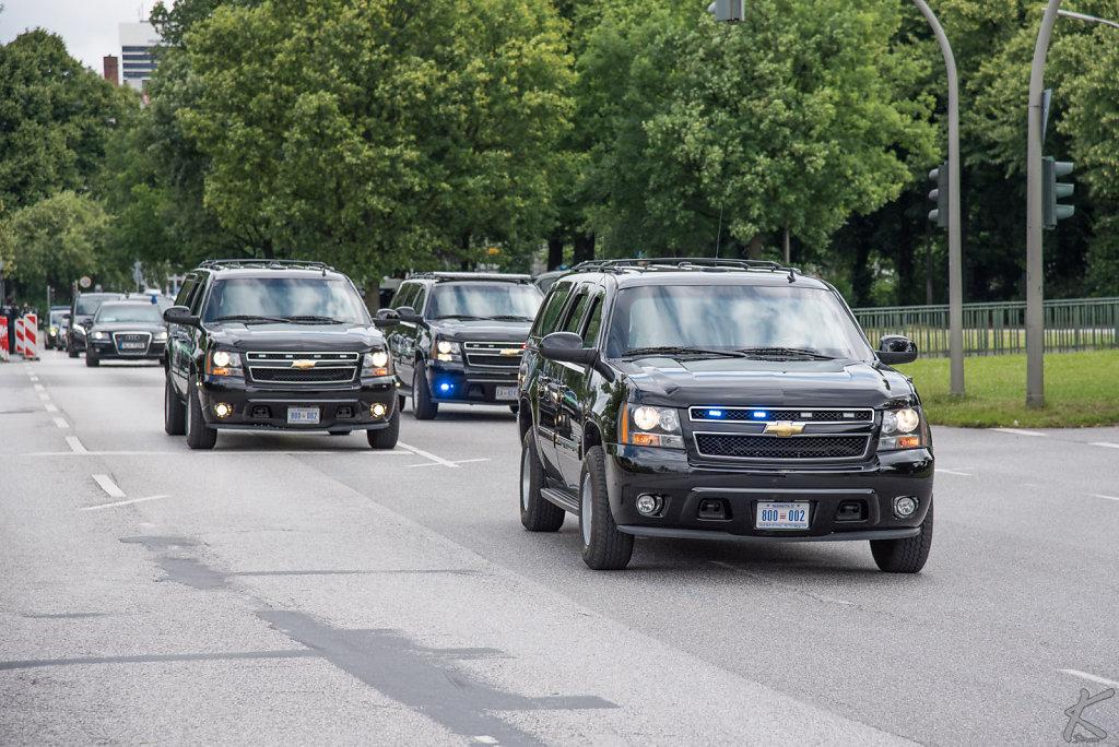 Convoy on Schwanenwik with FLOTUS Melania Trump during G20 summi